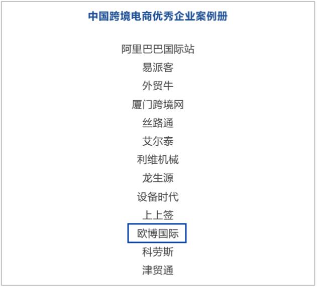 欧博国际入选由中国贸促会发布的《中国跨境电商优秀企业案例册》
